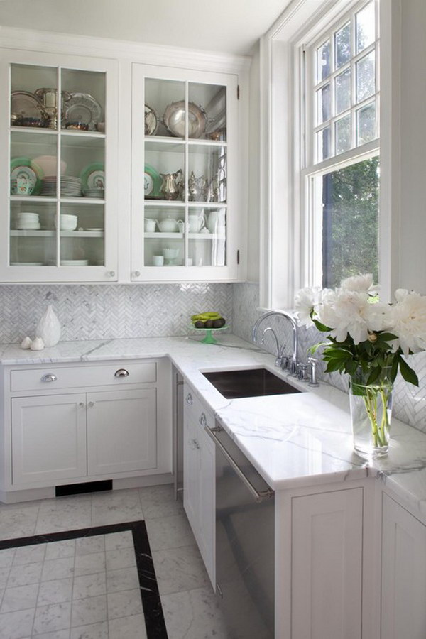 White Kitchen Herringbone Backsplash 35 beautiful kitchen backsplash ideas - hative