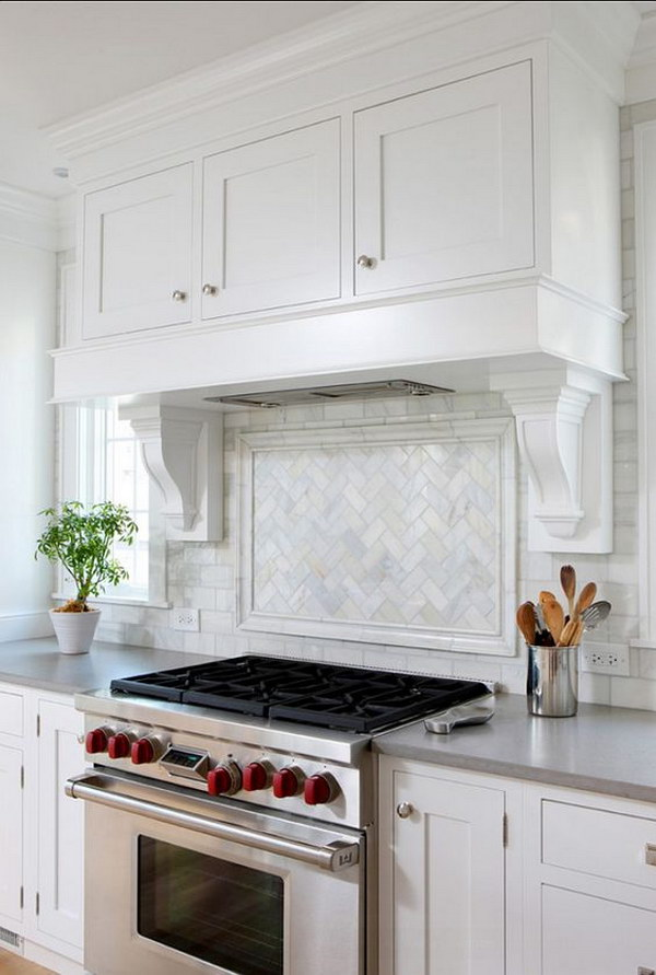 Herringbone U201cPicture Frameu201d Edged With A Chair Rail Backsplash