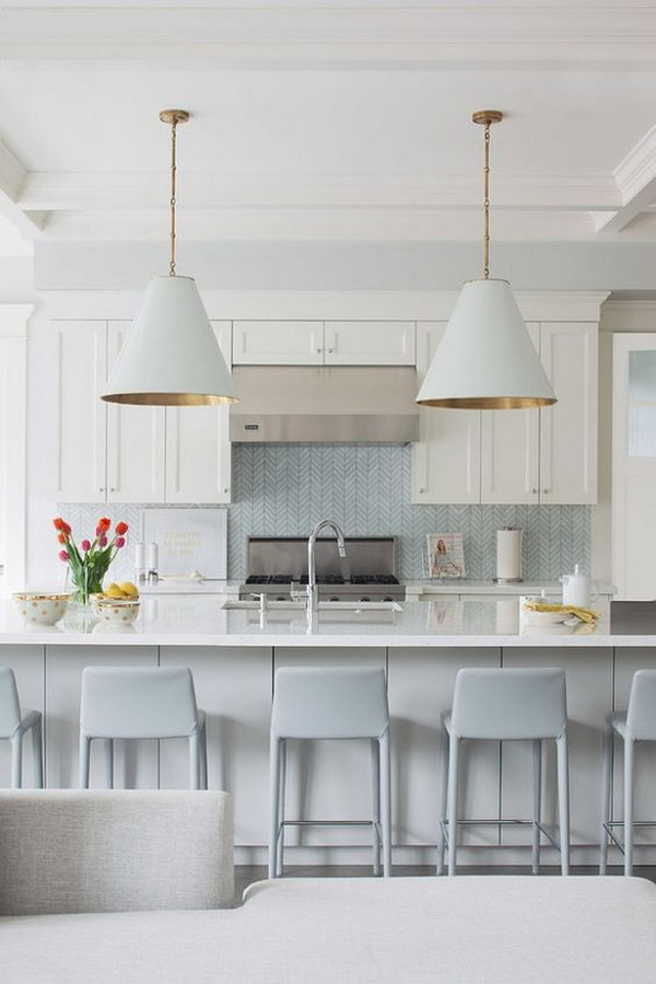 Light Blue Chevron Tile Backsplash In A Modern Costal Kitchen