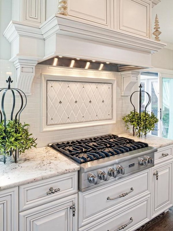 White Kitchen With Light Gray And Silver Accents A Tile Backsplash