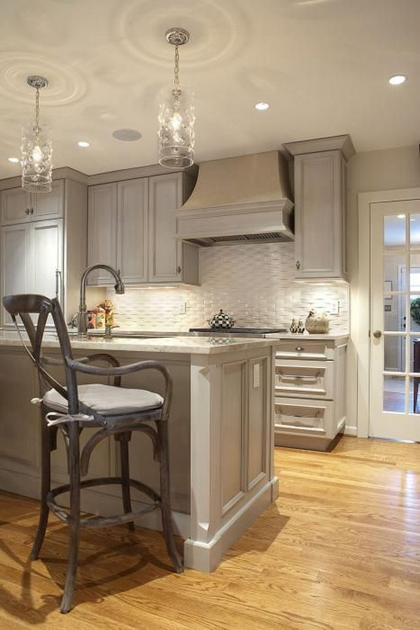 Gray Kitchen with Gray Granite Countertops and White Basketweave