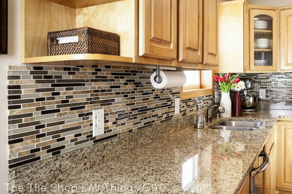 gray granite countertops and white basketweave subway tile backsplash