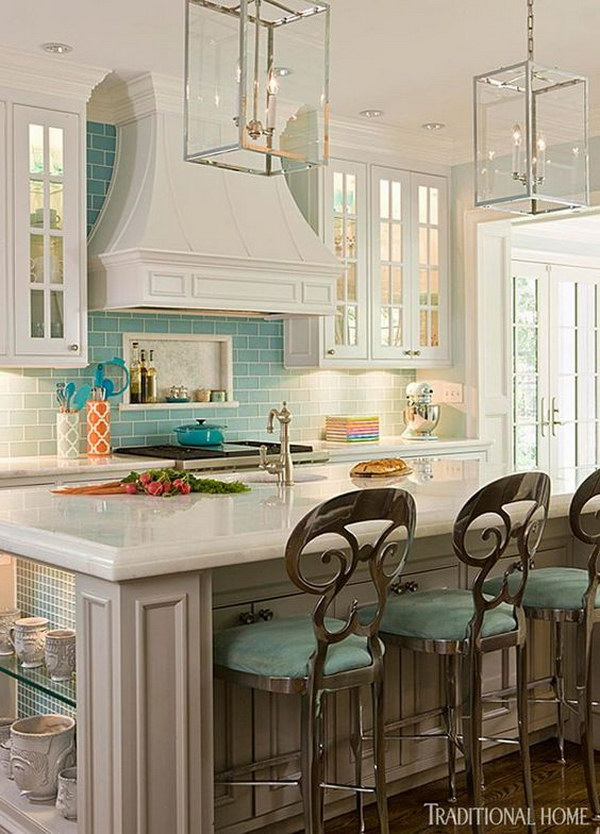 A Pop of Color: White Cabinetry with Pale Turquoise Tile Backsplash