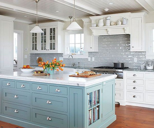 Beautiful Blue Island Livening Up The Grey Subway Tile Backsplash And White Cabinetry