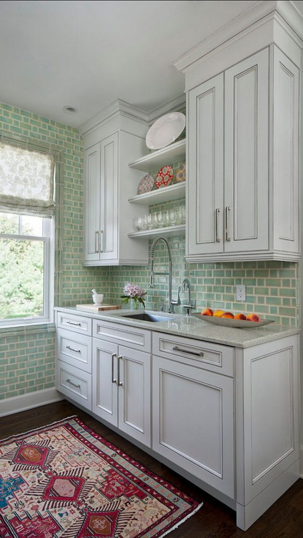 Subway Tile Backsplash Ideas For The Kitchen Part - 46: Green Glazed Ceramic Subway Tile Backsplash