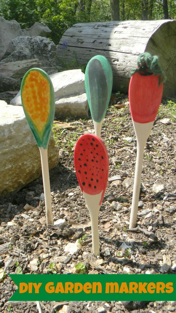 DIY Painted Wooden Spoon Garden Markers
