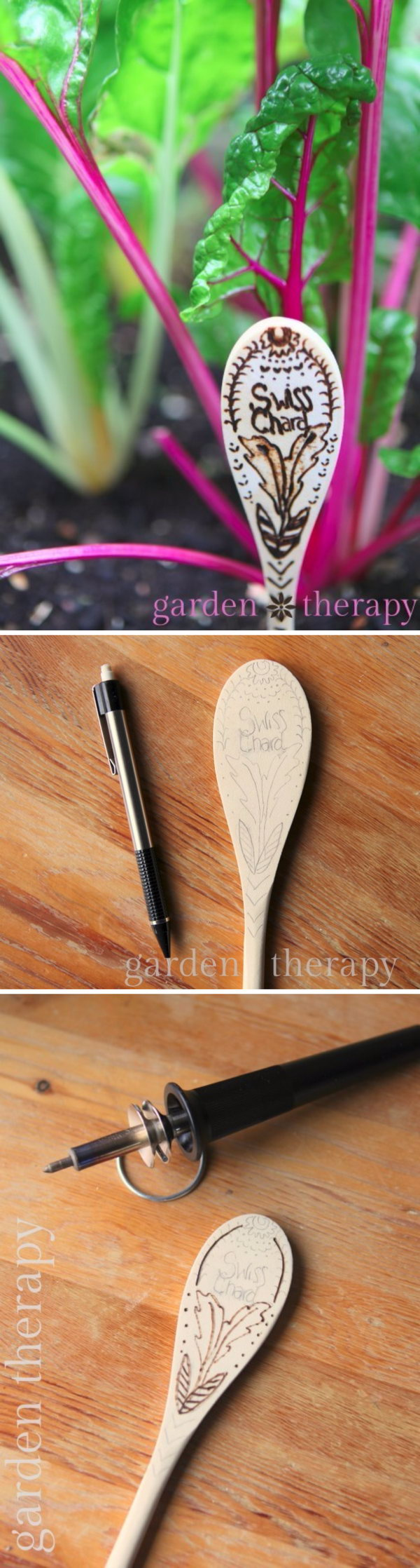 DIY Wood Burned Spoon Garden Marker.