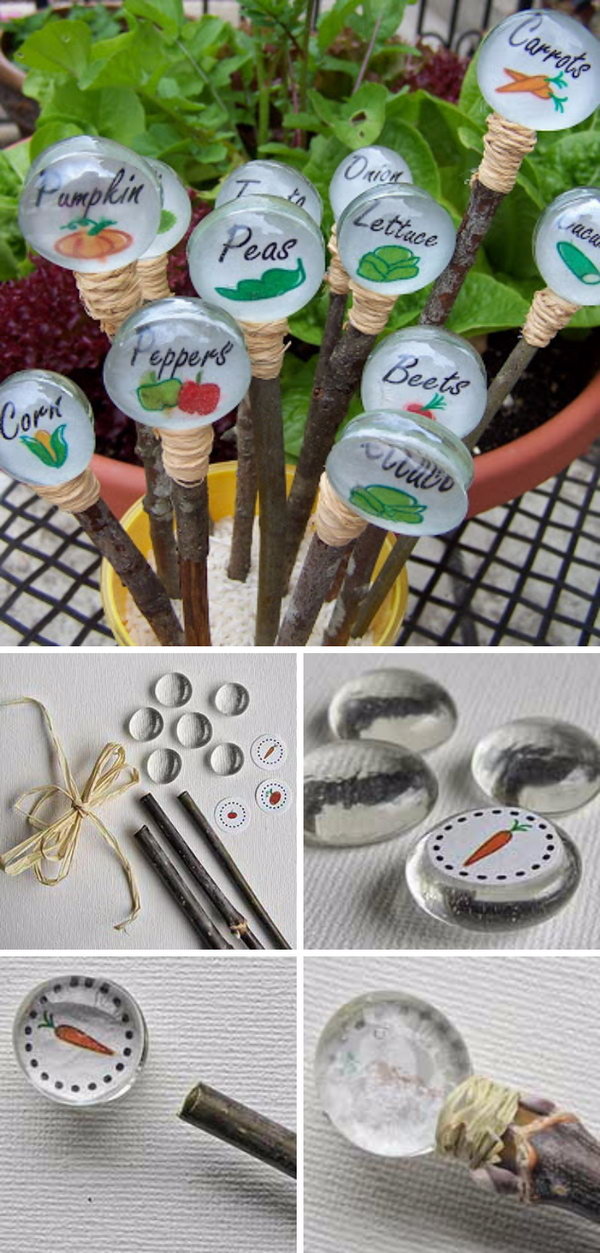 DIY Glass Gem Garden Markers.