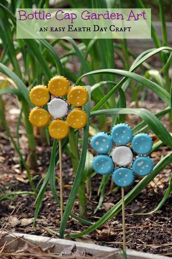 DIY Bottle Cap Flowers Plant Markers