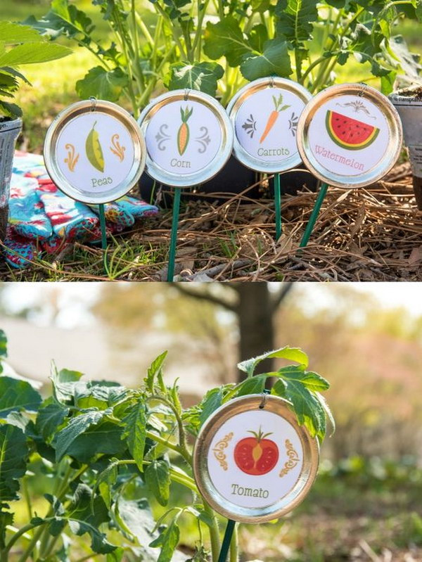 Recycled Mason Jar Lids Plant Markers
