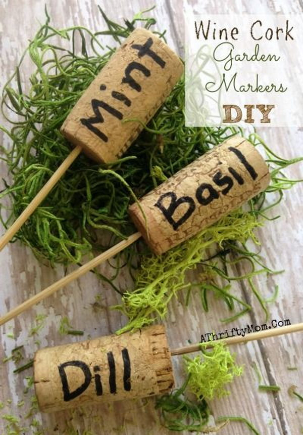 30 diy plant label marker ideas for your garden hative for Garden design ideas cork