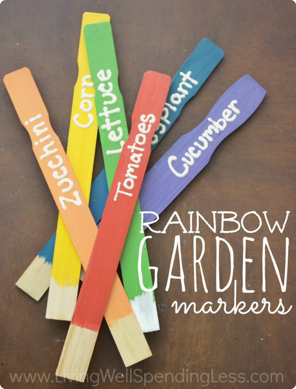DIY Painted Stick Garden Markers
