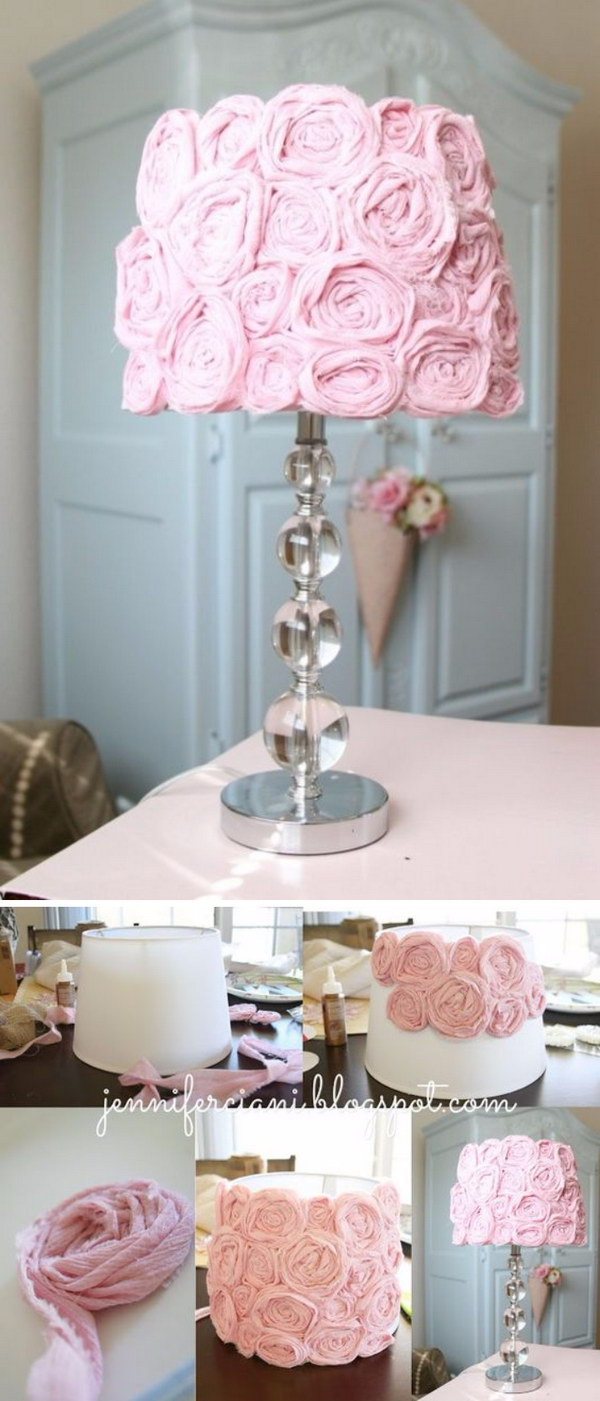 DIY Pink Rose Lamp