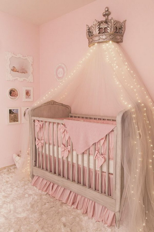 Bon Canopy Bed Crown With Starry String Lights