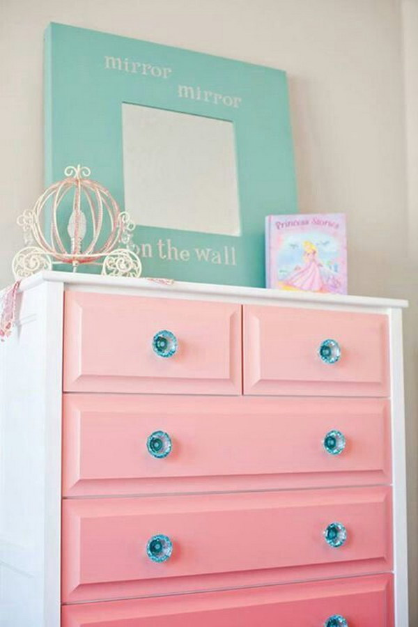 DIY Pink Ombre Painted Dresser