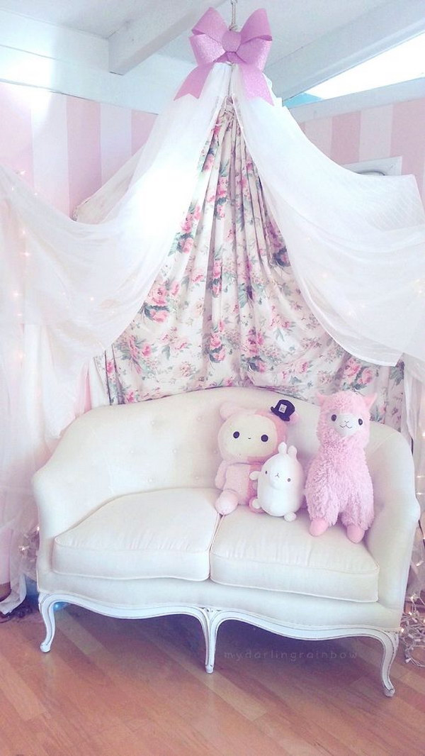 Princess Couch And Layering Curtains
