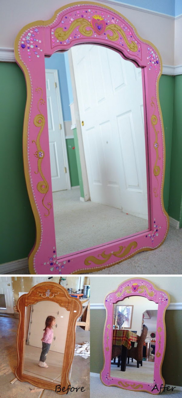 Thrift Store Princess Mirror Makeover.