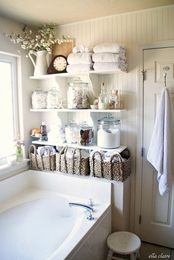 Vintage Chic Bathroom with DIY Plank Wall and  Open Shelving