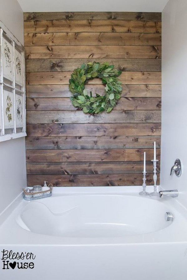 DIY Weathered Wood Plank Wall.