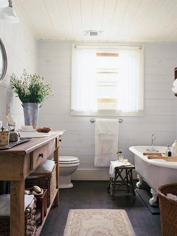 Rustic farmhouse bathroom ideas hative - Salle de bain style campagne chic ...