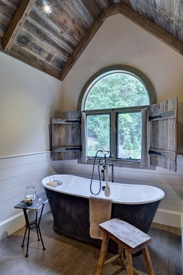 Rustic farmhouse bathroom ideas hative for Rustic master bathroom designs