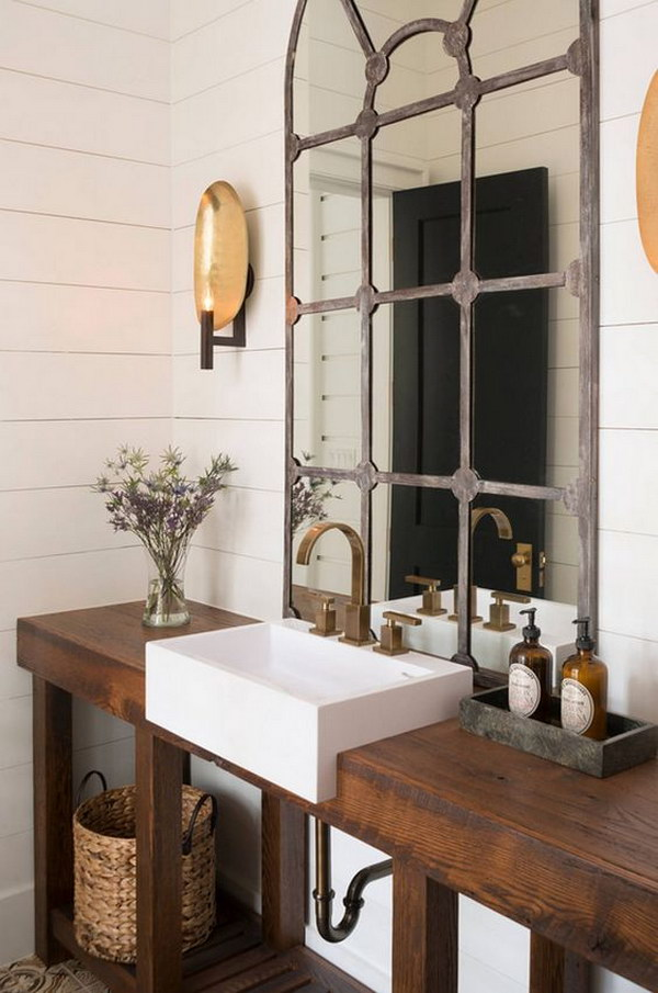 Rustic Farmhouse Bathroom Ideas - Hative on Rustic Farmhouse Bathroom  id=39661