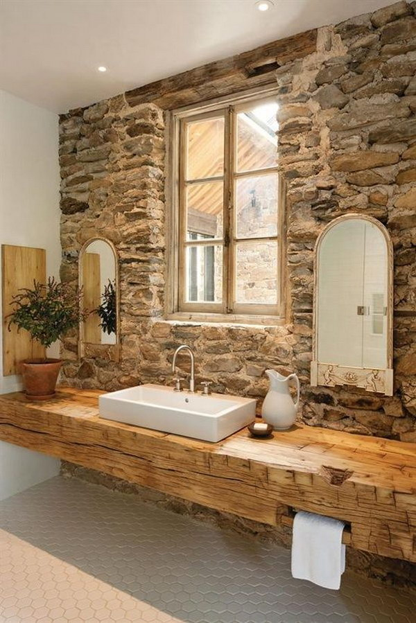 Rustic Bathroom Wall Ideas rustic farmhouse bathroom ideas - hative