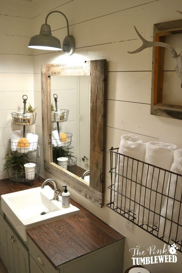 Rustic farmhouse bathroom ideas hative for Bathroom designs rustic