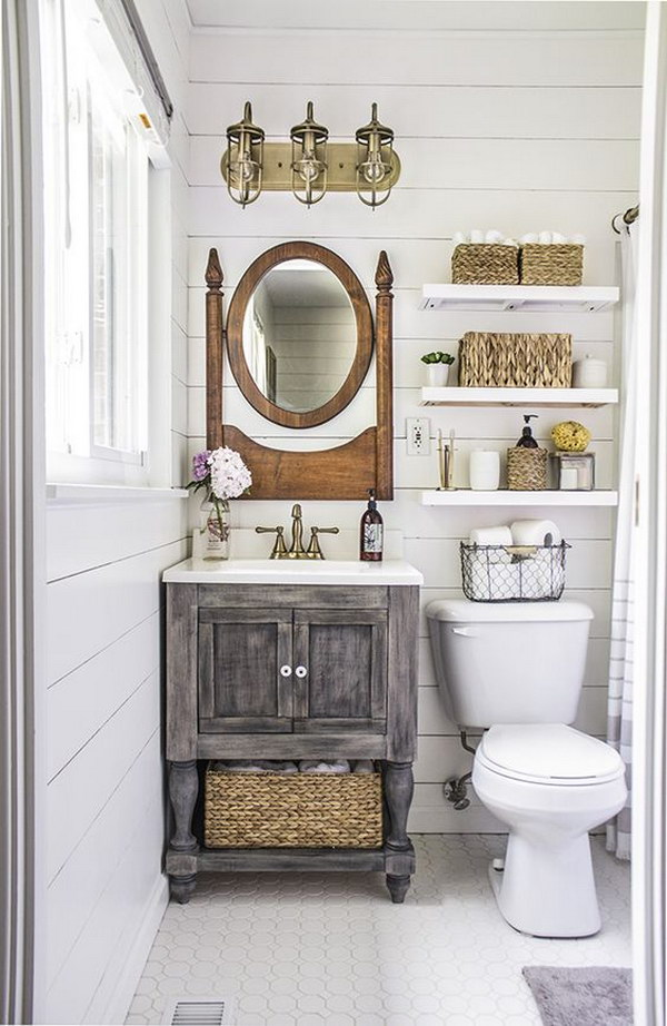 Tiny Rustic Bathroom Organization.