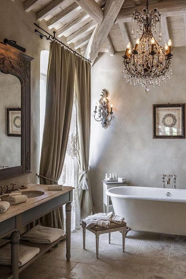 Rustic And Romantic French Bathroom