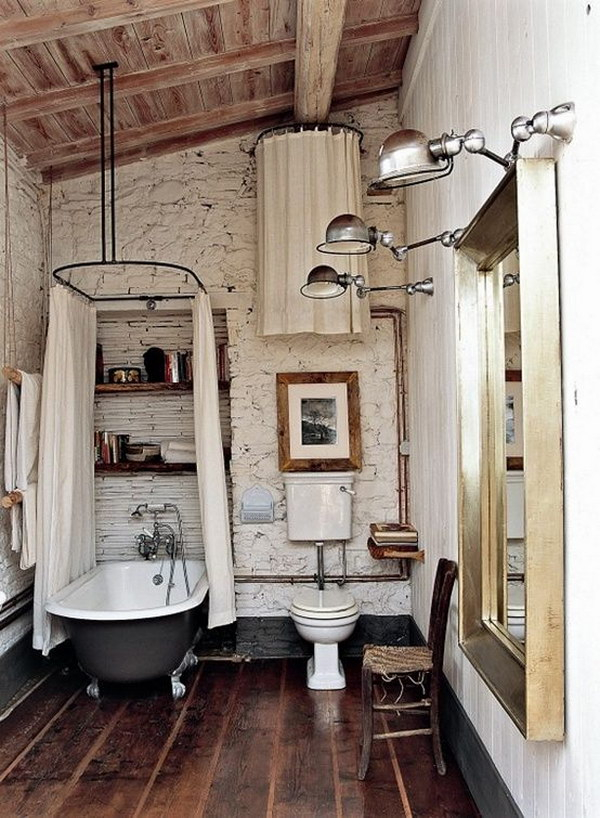 Vintage Rustic Bathroom With Claw Foot Bathtub