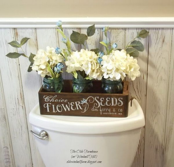 Rustic bathroom with Sewing Drawer Turned Flower Seeds Sign.