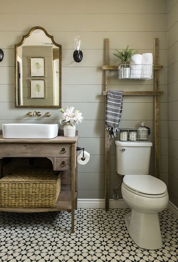 rustic farmhouse bathroom ideas  hative, Bathroom decor