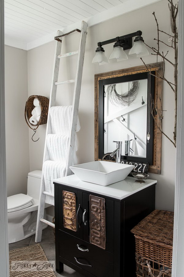Rustic Bathroom With DIY Plank Ceiling