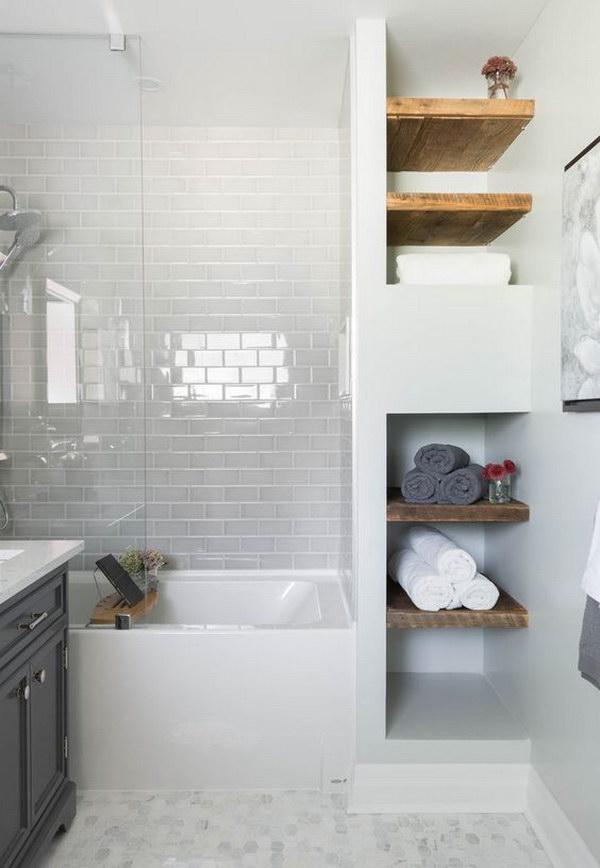 Rustic Bathroom With Wood Shelving White Subway Tile Mosaic Floor And Glass Shower Tub
