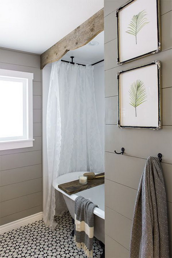 Rustic Wood Valance And Tub Caddy For Bathroom