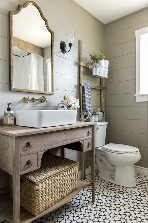 this vintage buffet turned vanity add style to your bathroom - Rustic Bathroom