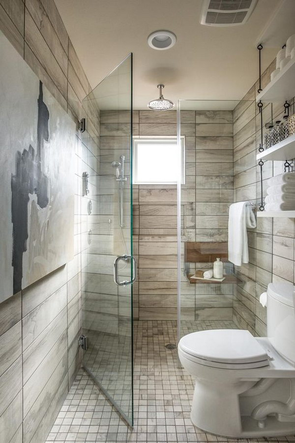 Glass Shower For Rustic Bathroom.