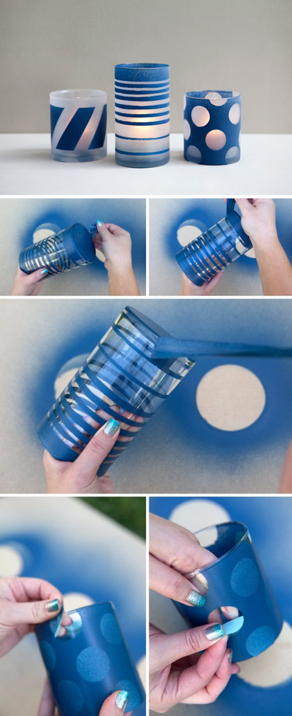 Good Spray Painting Ideas Part - 3: DIY Spray Painted And Frosted Glass Jars
