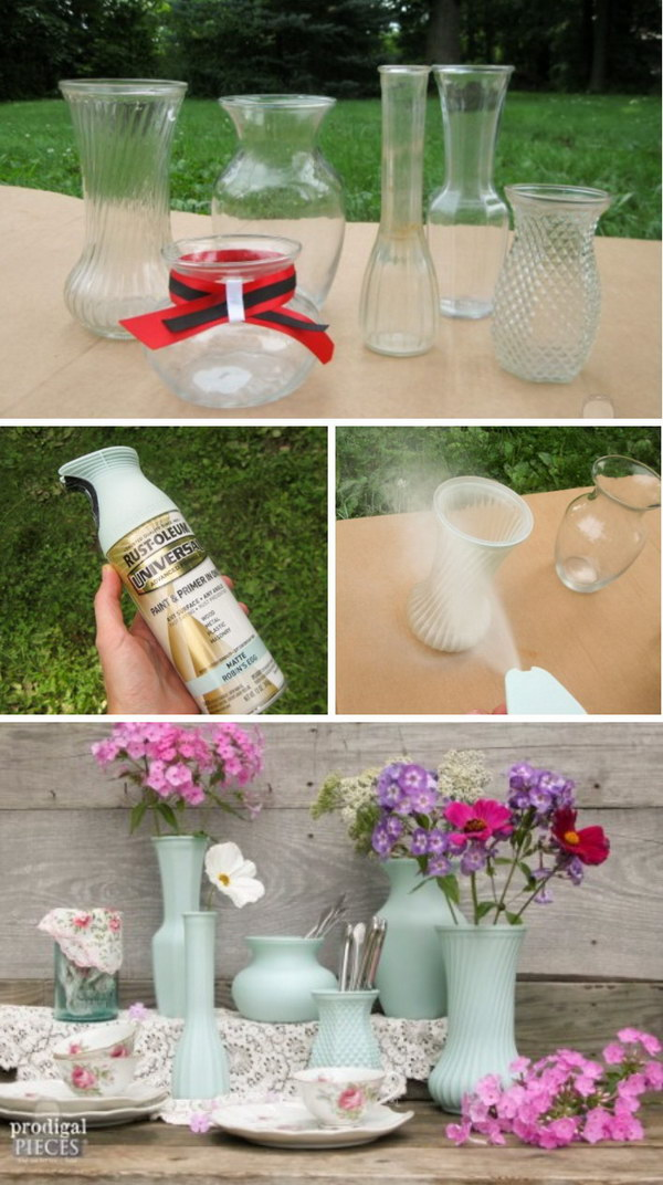 Spray Painting Ideas Part - 17: DIY Thrift Store Glass Vase