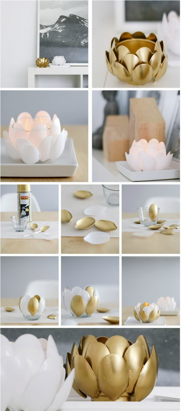 Gold Spray Paint Ideas Part - 39: DIY Water Lilies Plastic Spoon Candle Holder