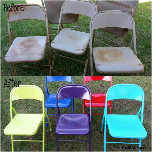 Up cycled & Brightened Vintage Metal Chairs.