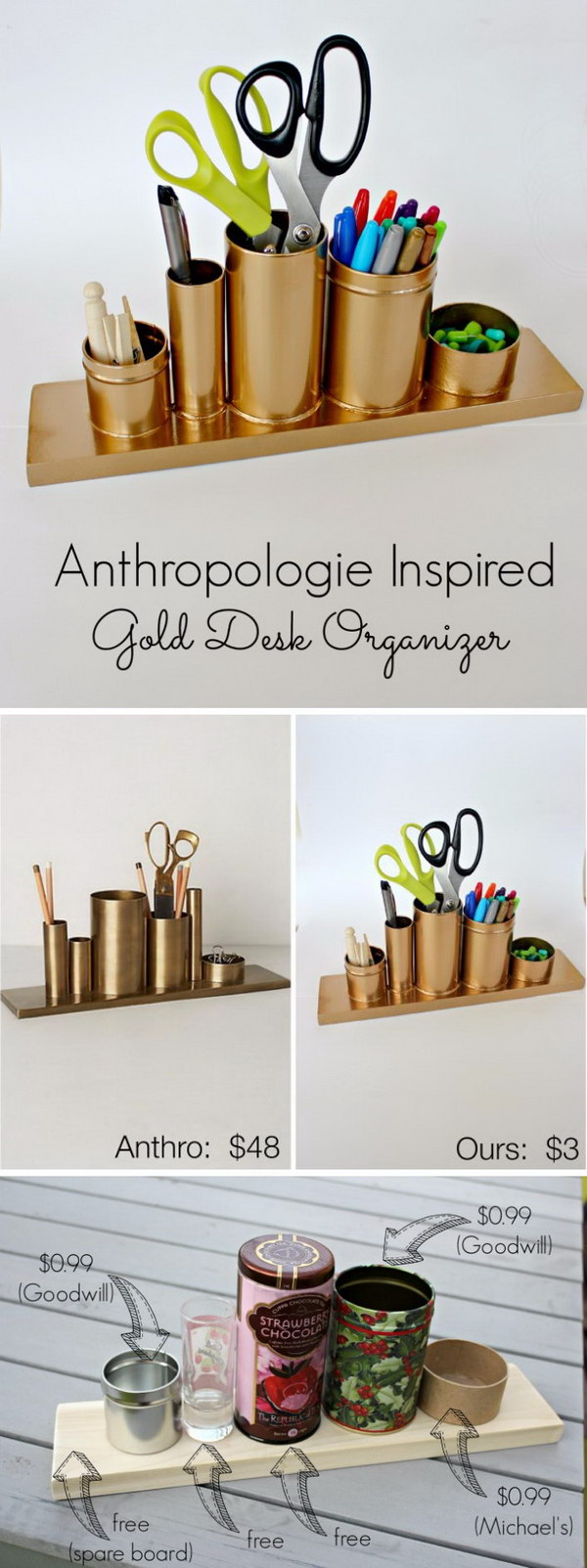 Superior Gold Spray Paint Ideas Part - 7: DIY Anthro Inspired Gold Pencil Holder