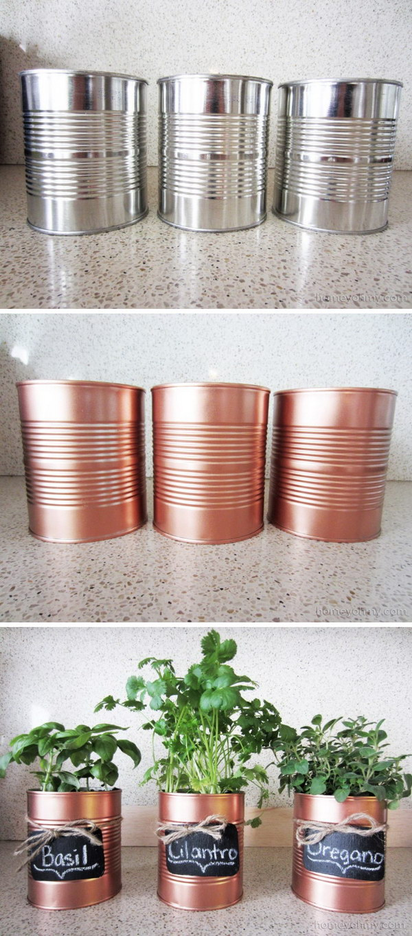 DIY Copper Tin Can Planters