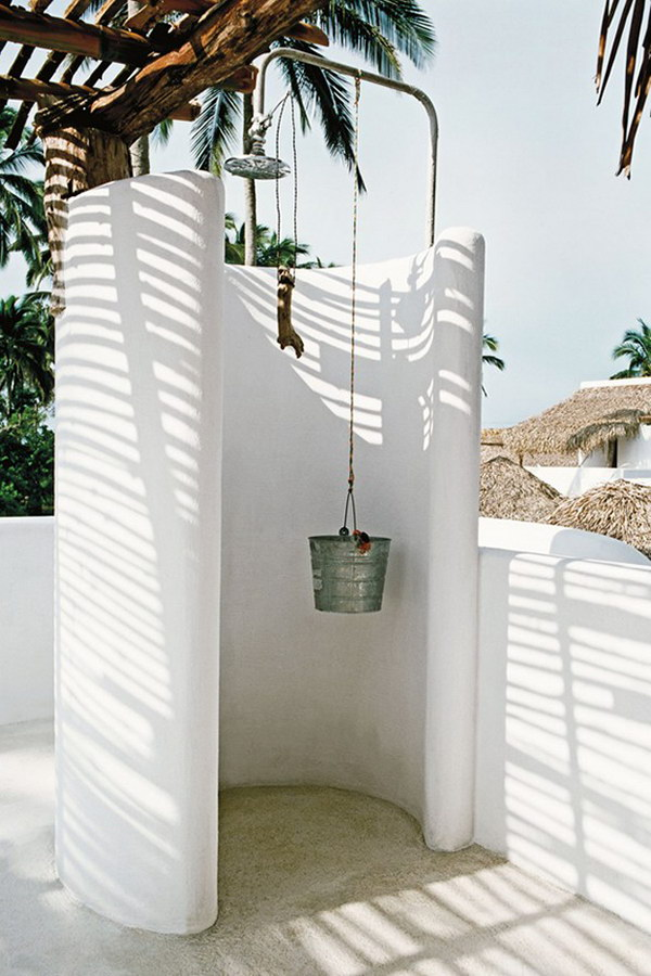 Outdoor Shower Ideas Part - 47: Outdoor White Shower
