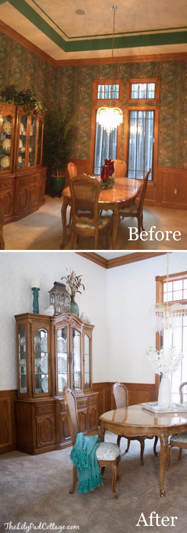 Great Transformation with Just Changing Out The Dark Wall Paper.