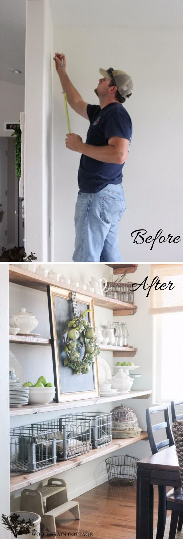 DIY Dining Room Open Shelving.