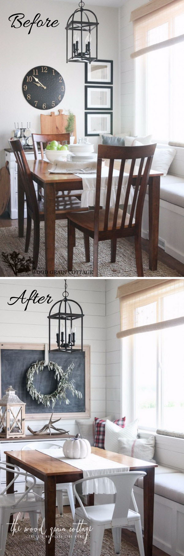 Breakfast Nook Makeover with Plank Wall and Blackboard.