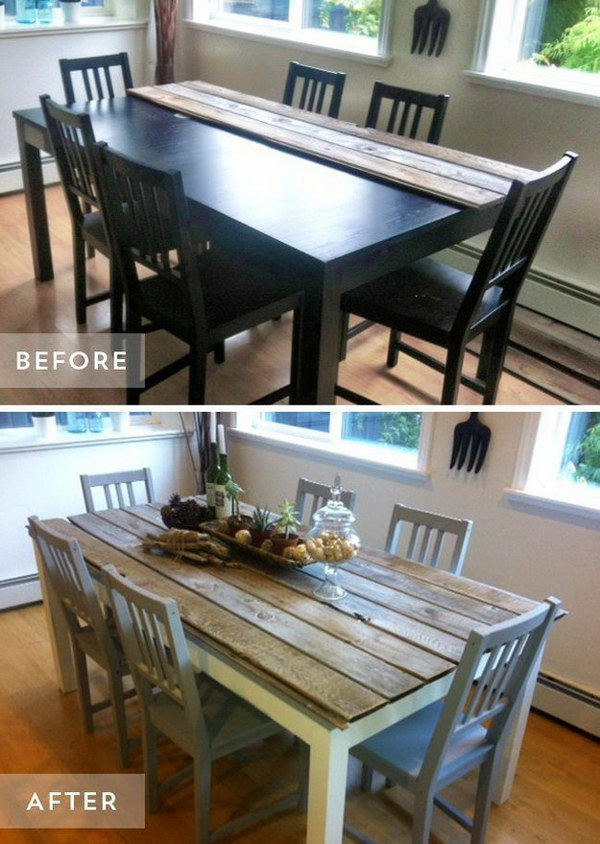 Budget Friendly Dining Table Makeover from Boring to Dramatic.