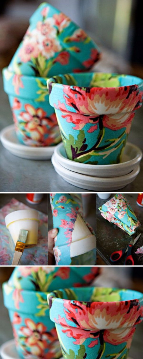 DIY Fabric Covered Flower Pots.